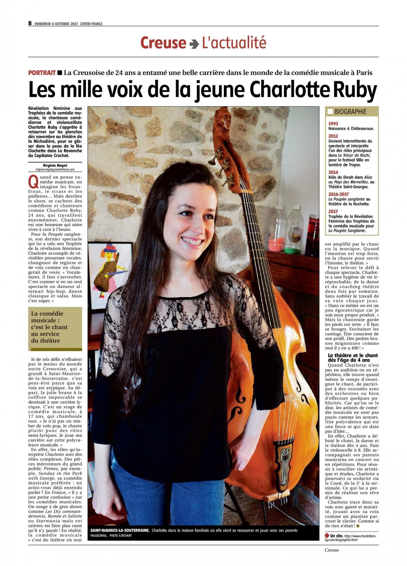 PORTRAIT – «Les mille voix de la jeune Charlotte Ruby»