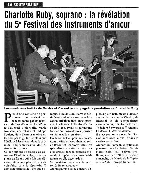 «Charlotte Ruby, Soprano : la Révélation du 5e Festival des Instruments d'amour»