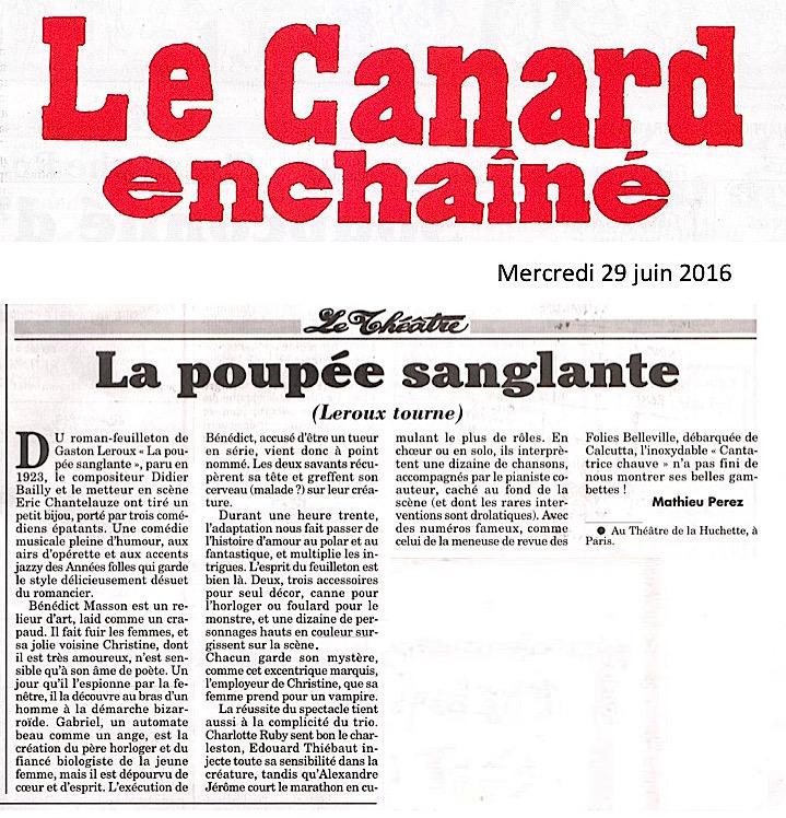 LE CANARD ENCHAINÉ – La Poupée Sanglante