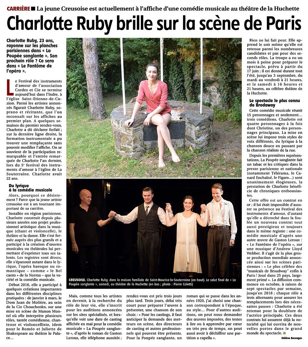 PORTRAIT – «Charlotte Ruby brille sur la scène de Paris»